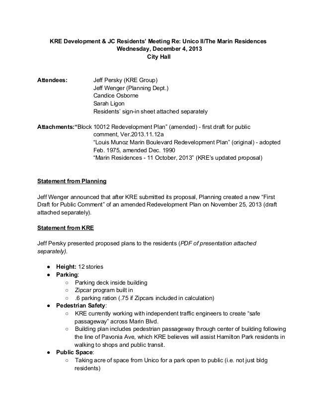 KREDevelopment&JCResidents'MeetingRe:UnicoII/TheMarinResidences Wednesday,December4,2013 CityHall  Attendees...