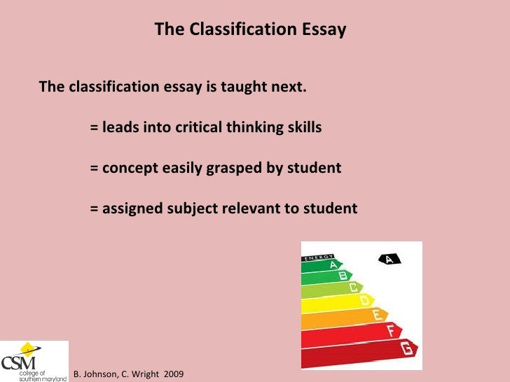 classification essay students essay What is a classification essay in a classification essay, a writer organizes, or sorts, things into categories three steps to effective classification.