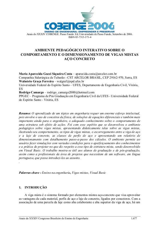 Anais do XXXIV COBENGE. Passo Fundo: Ed. Universidade de Passo Fundo, Setembro de 2006. ISBN 85-7515-371-4 Anais do XXXIV ...