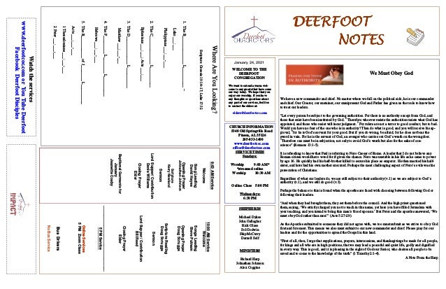 DEERFOOT DEERFOOT DEERFOOT DEERFOOT NOTES NOTES NOTES NOTES January 24, 2021 WELCOME TO THE DEERFOOT CONGREGATION We want ...