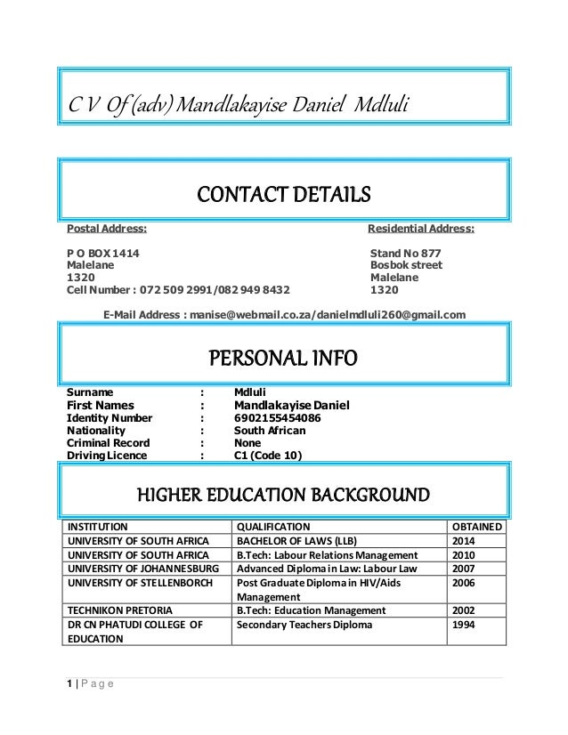 cv adv md mdluli md   oct 2016