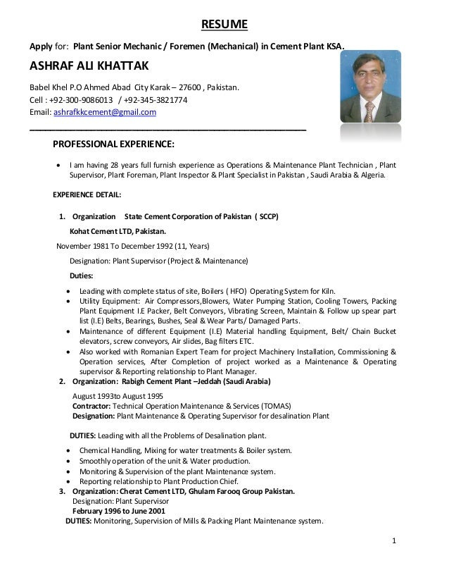 1 resume apply for plant senior mechanic foremen mechanical in cement plant  - Plant Foreman Resume