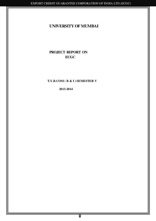 EXPORT CREDIT GUARANTEE CORPORATION OF INDIA LTD.(ECGC)  UNIVERSITY OF MUMBAI  PROJECT REPORT ON ECGC  T.Y.B.COM ( B & I )...