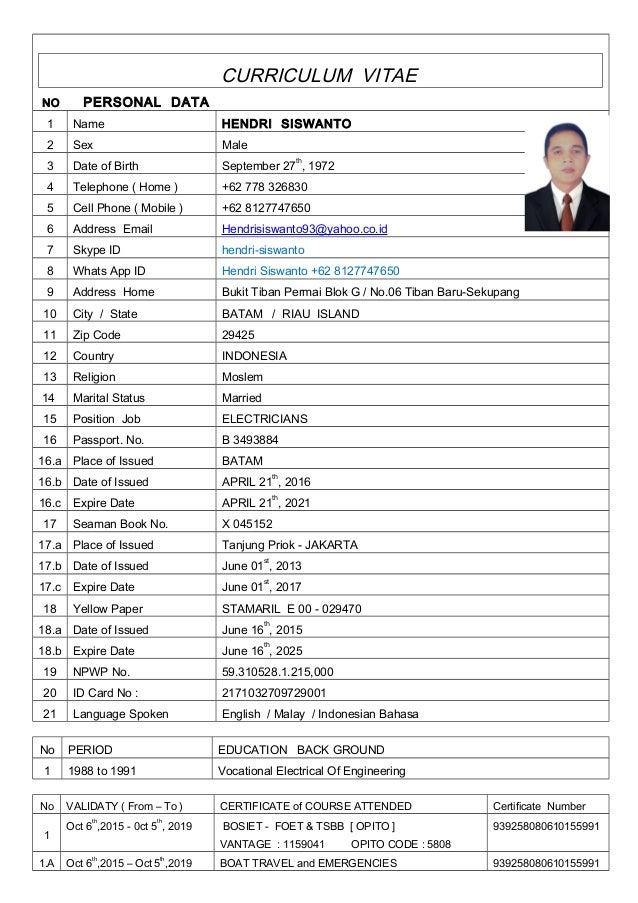 001 Int'l FOET New 23CV ELECTRICIANS Mr Hendri Siswanto