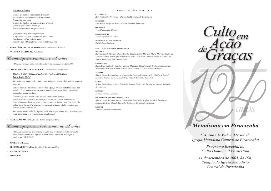 Cultoem    de Ação        Graças                           anos                          no Metodismo em Piracicaba      1...