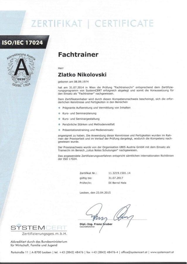 Zertifikat 113219150114 ISO IEC 17024 Fachtrainer 20140731