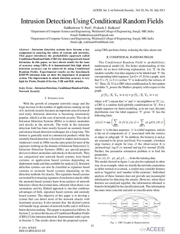 ACEEE Int. J. on Network Security , Vol. 02, No. 03, July 2011 Intrusion Detection Using Conditional Random Fields        ...