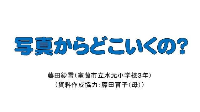 藤田紗雪(室蘭市立水元小学校3年) (資料作成協力:藤田育子(母))