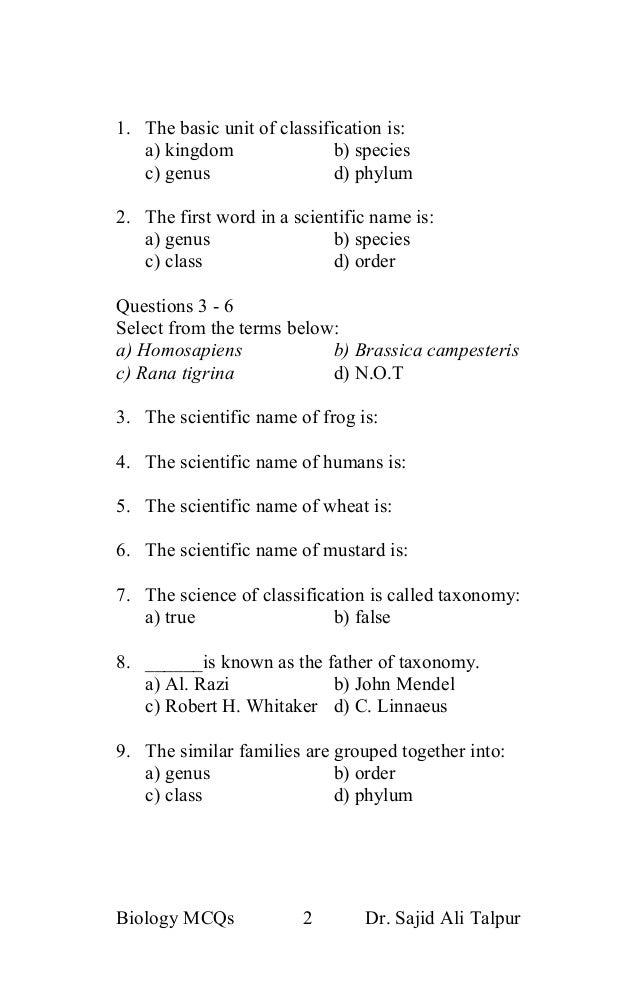 Ninth class biology mcqs ( classification of living organisms)