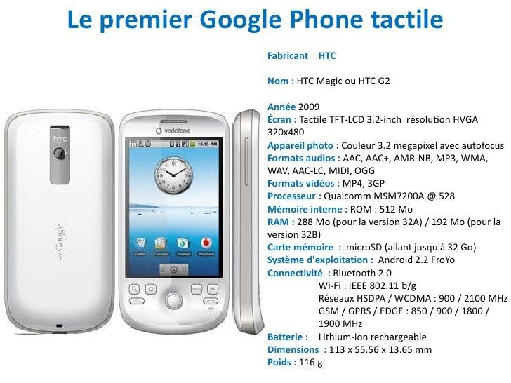Le premier Google Phone tactile                Fabricant HTC                Nom : HTC Magic ou HTC G2                Année...