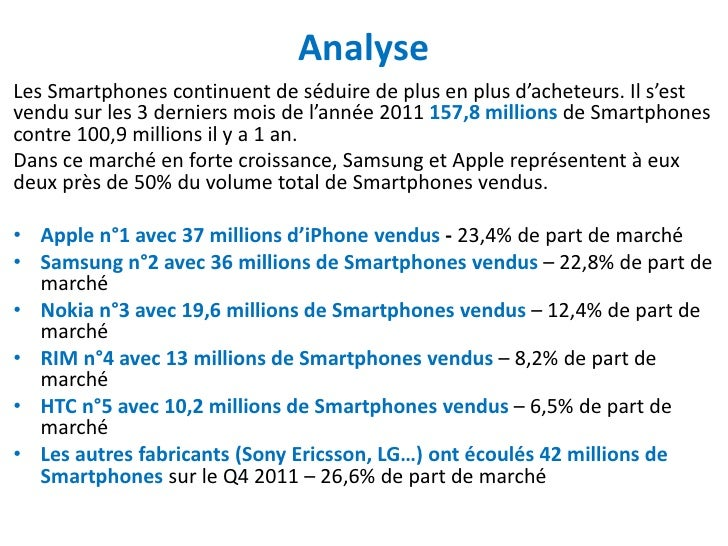 AnalyseLes Smartphones continuent de séduire de plus en plus d'acheteurs. Il s'estvendu sur les 3 derniers mois de l'année...