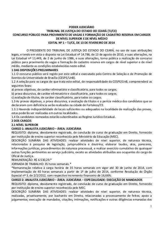 1 PODER JUDICIÁRIO TRIBUNAL DE JUSTIÇA DO ESTADO DO CEARÁ (TJ/CE) CONCURSO PÚBLICO PARA PROVIMENTO DE VAGAS E FORMAÇÃO DE ...