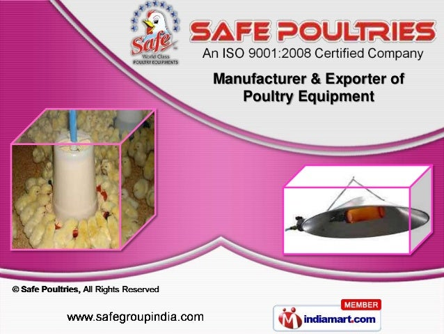 Manufacturer & Exporter of   Poultry Equipment
