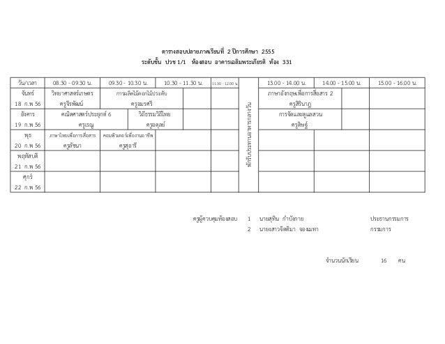 ตารางสอบปลายภาคเรียนที่ 2 ปการศึกษา 2555                                                       ระดับชั้น ปวช 1/1 หองสอบ ...