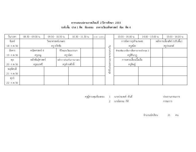 ตารางสอบปลายภาคเรียนที่ 2 ปการศึกษา 2555                                                  ระดับชั้น ปวส 1 พืช หองสอบ อาค...