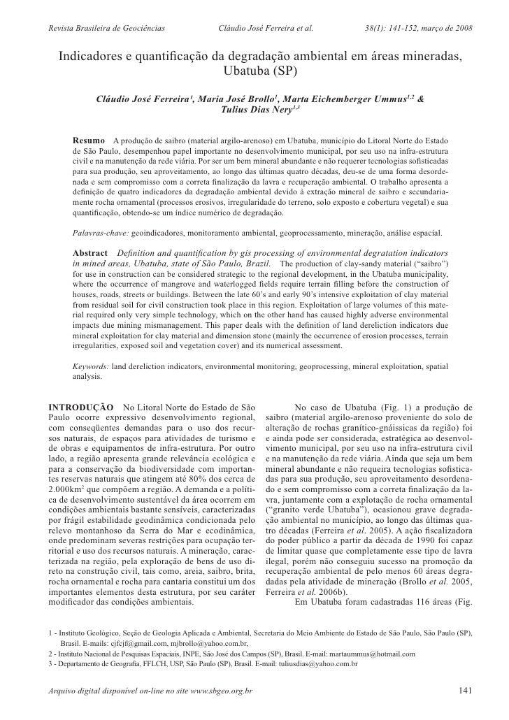 Revista Brasileira de Geociências                   Cláudio José Ferreira et al.                  38(1): 141-152, março de...