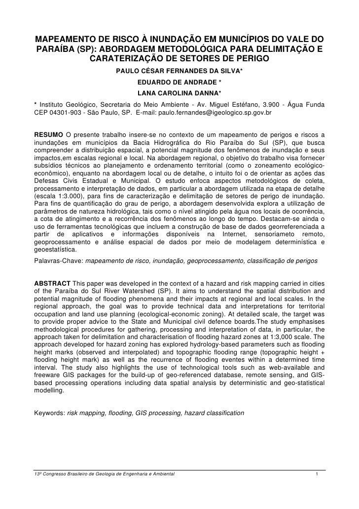 MAPEAMENTO DE RISCO À INUNDAÇÃO EM MUNICÍPIOS DO VALE DOPARAÍBA (SP): ABORDAGEM METODOLÓGICA PARA DELIMITAÇÃO E           ...