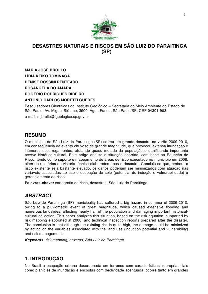 1    DESASTRES NATURAIS E RISCOS EM SÃO LUIZ DO PARAITINGA                            (SP)MARIA JOSÉ BROLLOLÍDIA KEIKO TOM...