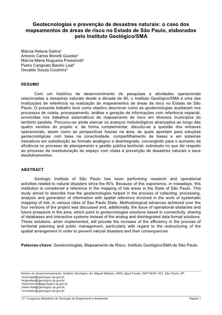 Geotecnologias e prevenção de desastres naturais: o caso dos   mapeamentos de áreas de risco no Estado de São Paulo, elabo...
