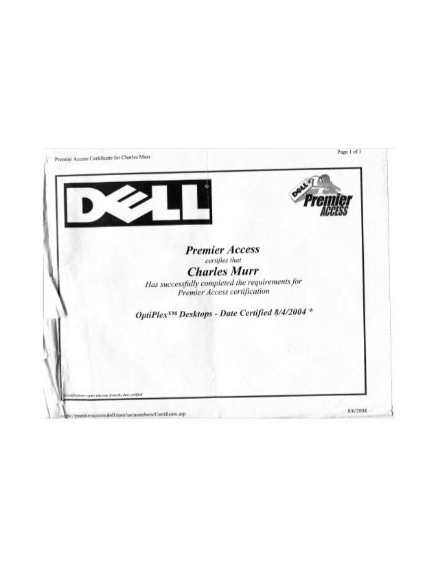 Dell Computer Certification for Charles Murr Jr