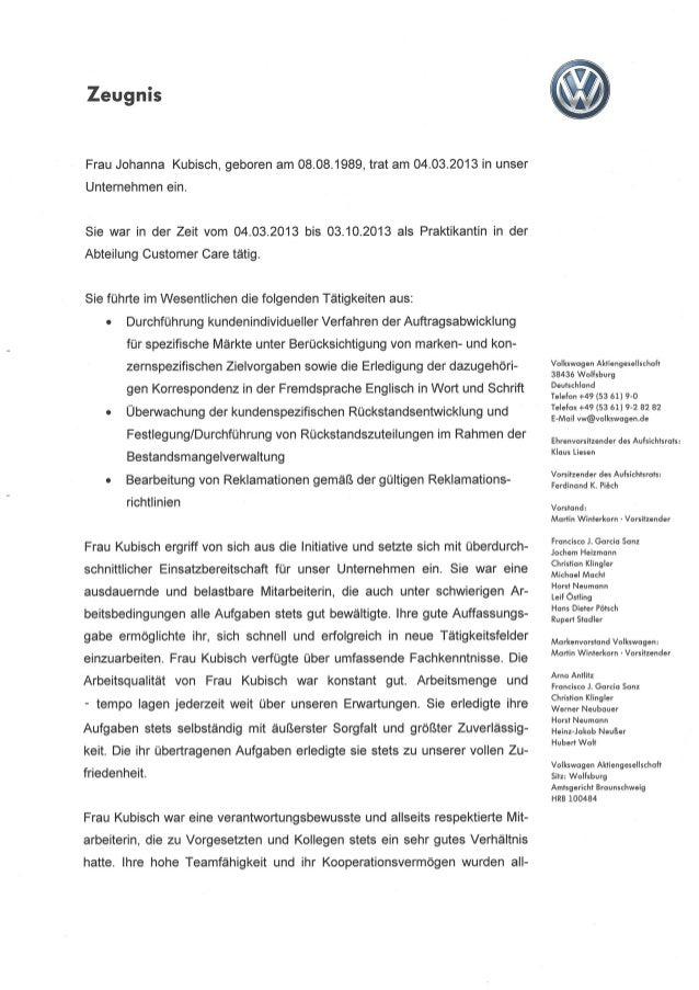 7- Arbeitszeugnis Praktikantin Volkswagen AG