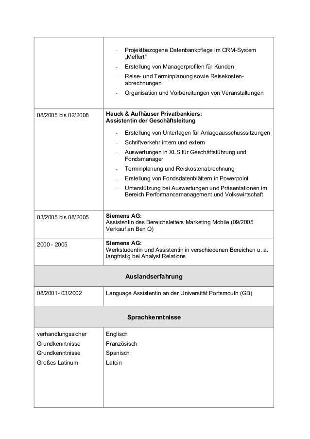 """- Projektbezogene Datenbankpflege im CRM-System """"Meffert"""" - Erstellung von Managerprofilen für Kunden - Reise- und Terminp..."""