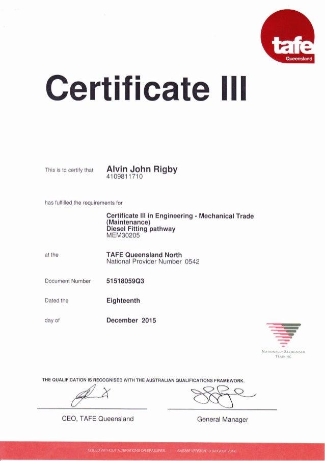 Trade Certificate Diesel Fitter Australia