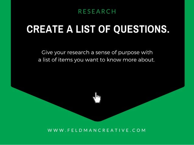 R CSC ll  CREATE A LIST OF QUESTIONS.   Give your research a sense of purpose with a list of items you want to know more a...