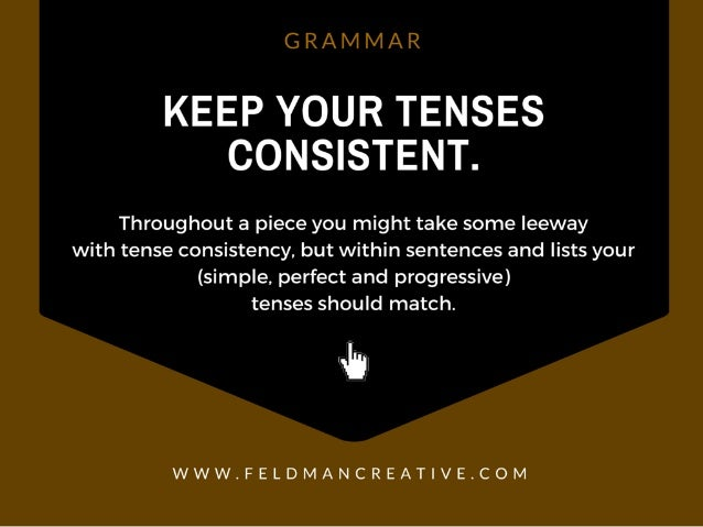 G R /  IVI IVI /  R  KEEP YOUR TENSES CONSISTENT.   Throughout a piece you might take some leeway with tense consistency, ...