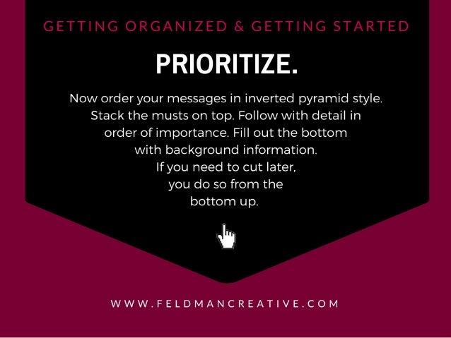 PRIORITIZE.   Now order your messages in inverted pyramid style.  Stack the musts on top.  Follow with detail in order of ...