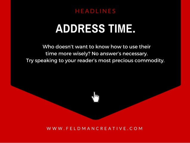 ADDRESS TIME.   Who doesn't want to know how to use their time more wisely?  No answer's necessary.  Try speaking to your ...