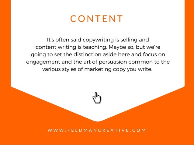 "C O N ""I"" E N   It's often said copywriting is selling and content writing is teaching.  Maybe so,  but we're going to set..."