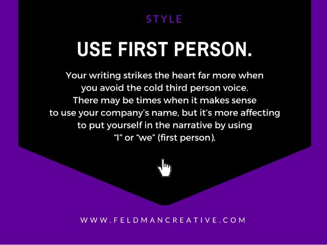 USE FIRST PERSON.   Your writing strikes the heart far more when you avoid the cold third person voice.  There may be time...