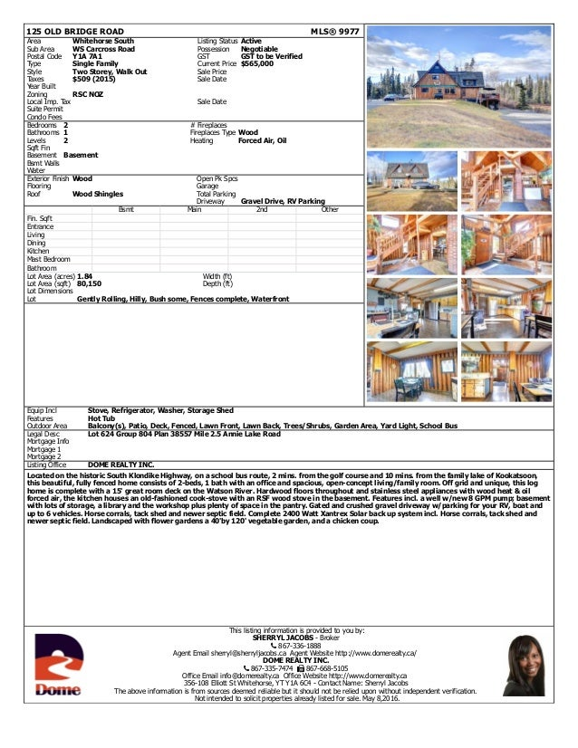 125 OLD BRIDGE ROAD MLS® 9977 Area Whitehorse South Listing Status Active Sub Area WS Carcross Road Possession Negotiable ...