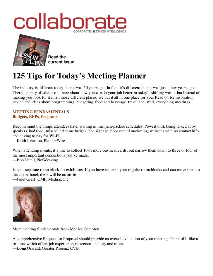 125 Tips for Today's Meeting PlannerThe industry is different today than it was 20 years ago. In fact, it's different than...