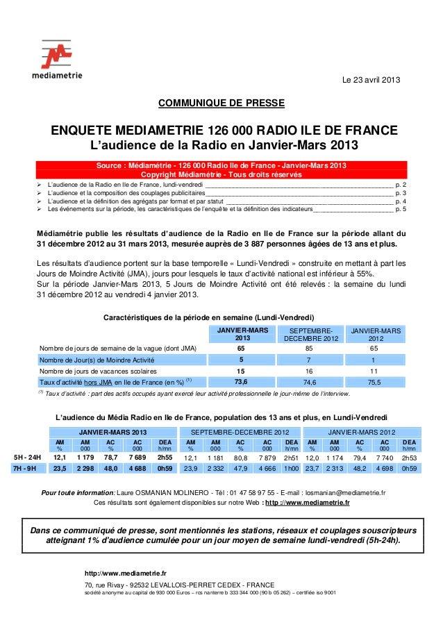 http://www.mediametrie.fr70, rue Rivay - 92532 LEVALLOIS-PERRET CEDEX - FRANCEsociété anonyme au capital de 930 000 Euros ...