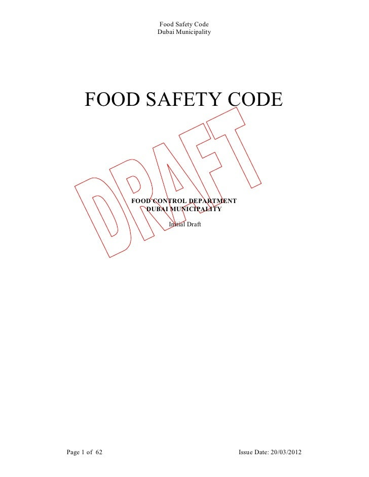 Food Safety Code                    Dubai Municipality      FOOD SAFETY CODE               FOOD CONTROL DEPARTMENT        ...