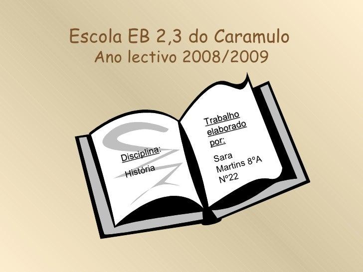 Escola EB 2,3 do Caramulo  Ano lectivo 2008/2009                           ho                    T rabal do               ...