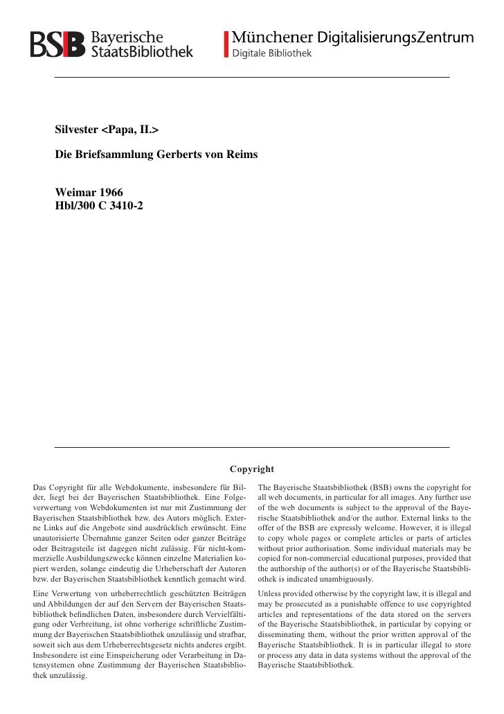 Silvester <Papa, II.>        Die Briefsammlung Gerberts von Reims         Weimar 1966       Hbl/300 C 3410-2              ...