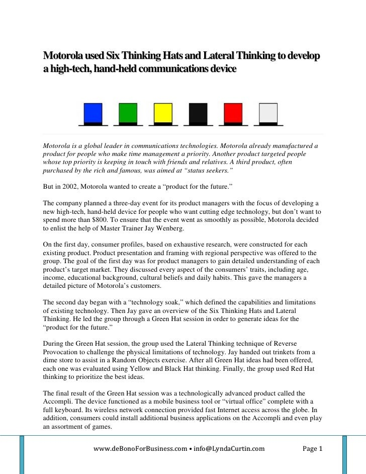 6 thinking hats example situation