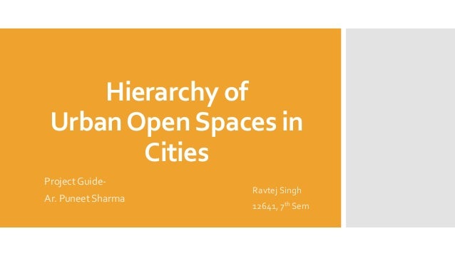 Hierarchy of UrbanOpenSpaces in Cities Project Guide- Ar. Puneet Sharma Ravtej Singh 12641, 7th Sem