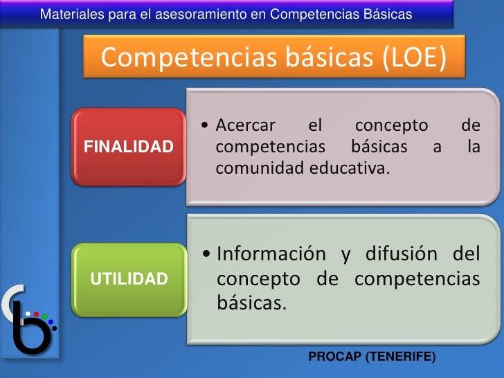 Materiales para el asesoramiento en Competencias Básicas         Competencias básicas (LOE)                        • Acerc...