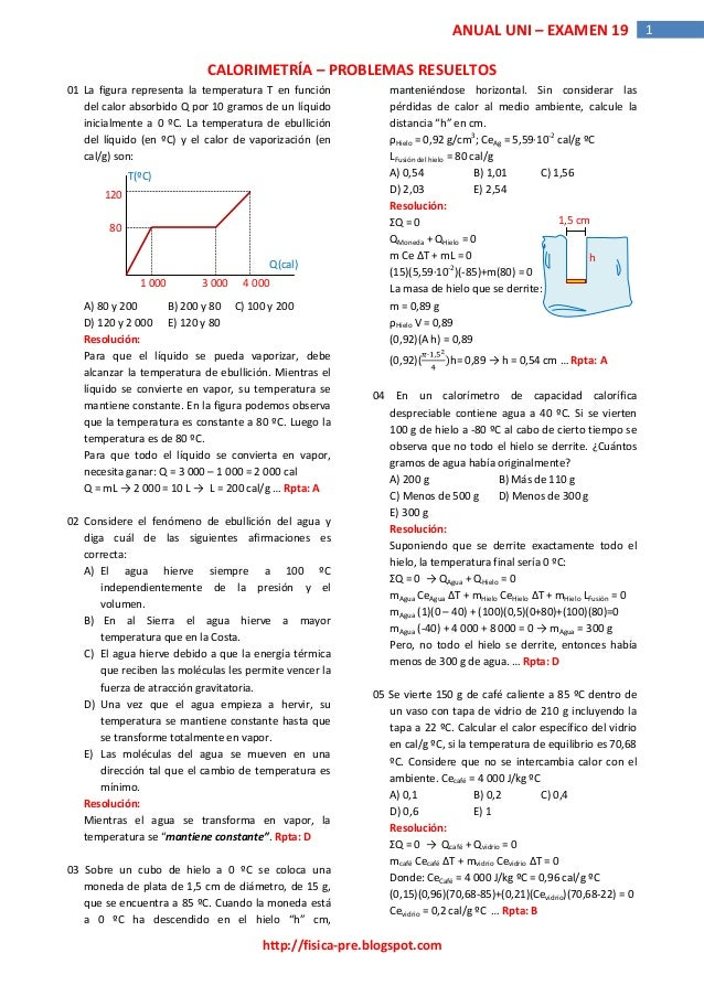 http://fisica-pre.blogspot.com  ANUAL UNI – EXAMEN 19 1  CALORIMETRÍA – PROBLEMAS RESUELTOS  01 La figura representa la te...