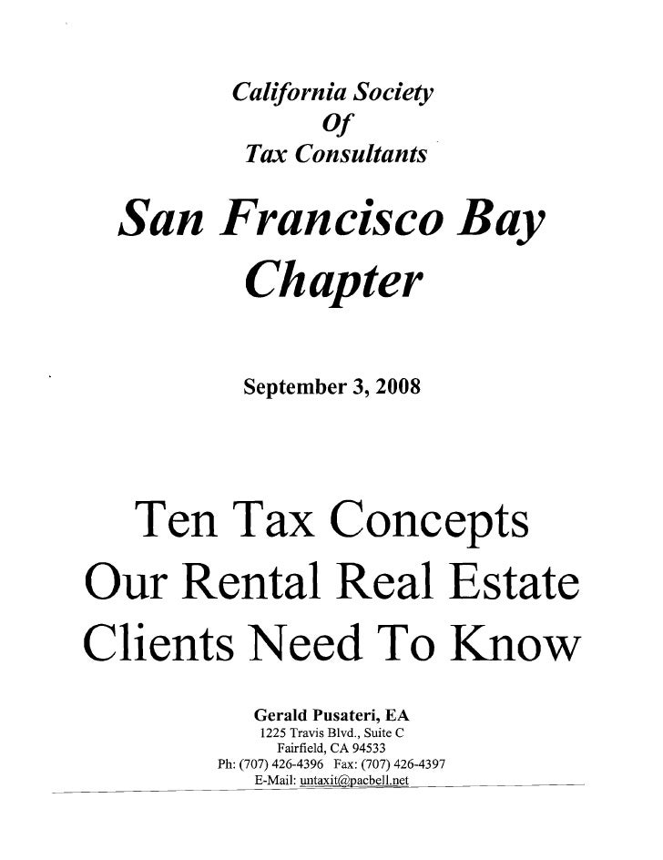 California Society                 Of          Tax Consultants   San Francisco Bay        Chapter            September 3, ...
