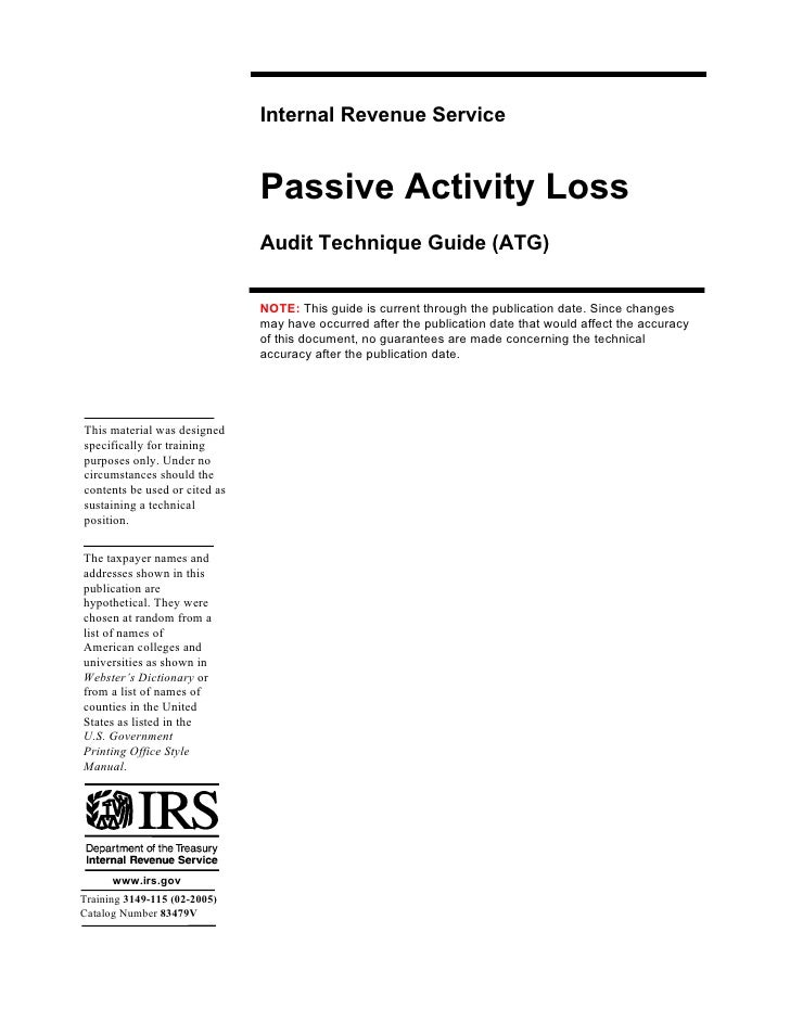 Internal Revenue Service                                  Passive Activity Loss                                 Audit Tech...