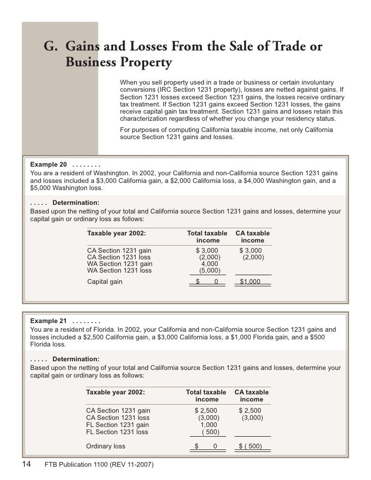Section 1231 Property: FTB Publication 1100 Taxation Of NonResidents