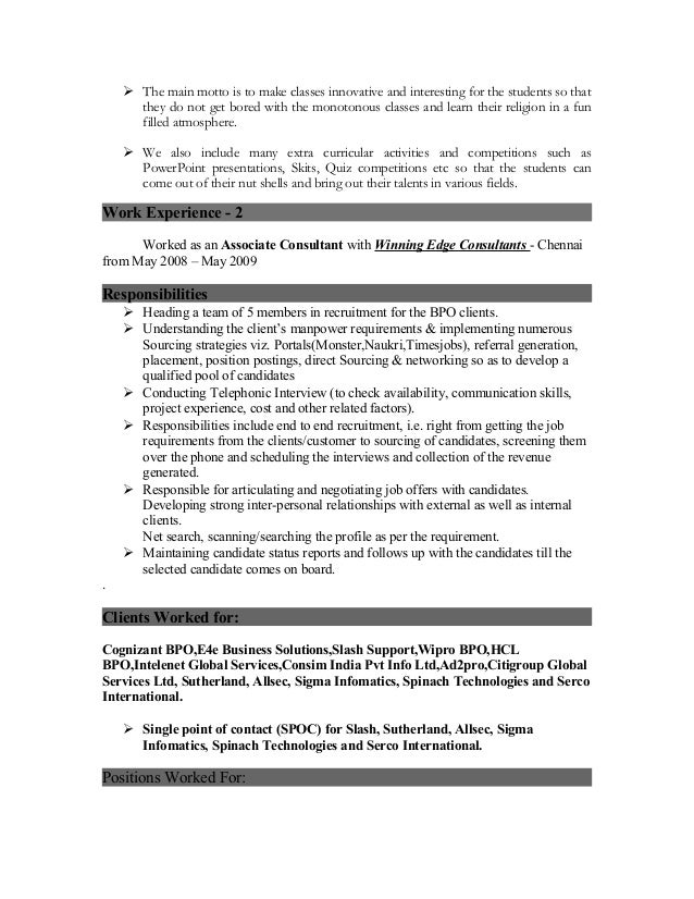 resume for the post of a coordinator vice principal counsellor