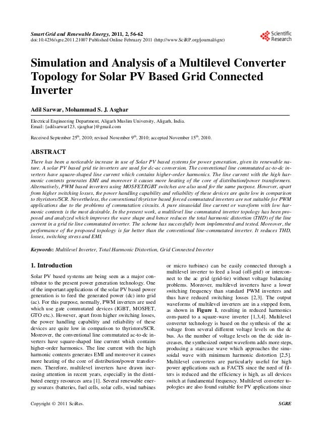 Smart Grid and Renewable Energy, 2011, 2, 56-62doi:10.4236/sgre.2011.21007 Published Online February 2011 (http://www.SciR...