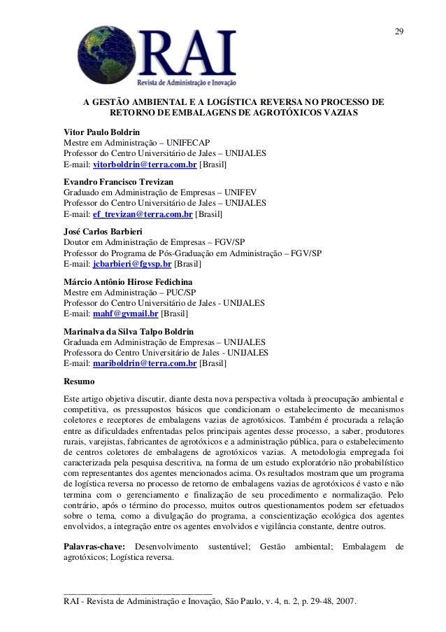 _________________________________RAI - Revista de Administração e Inovação, São Paulo, v. 4, n. 2, p. 29-48, 2007.29A GEST...