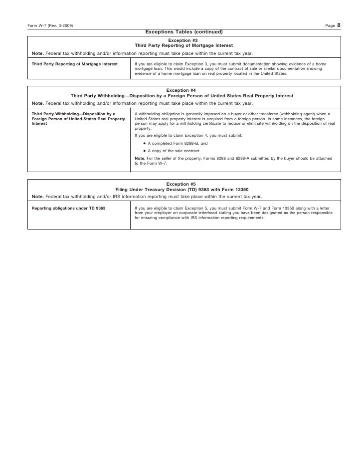Form W 7application For Irs Individual Taxpayer Identification Number